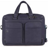 """Мужская сумка-портфель Piquadro BK SQUARE Темно-синяя 15"""" CA2849B3_BLU4"""