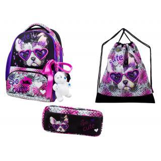 Школьный комплект DeLune - ранец, мешок, пенал, игрушка 10-001