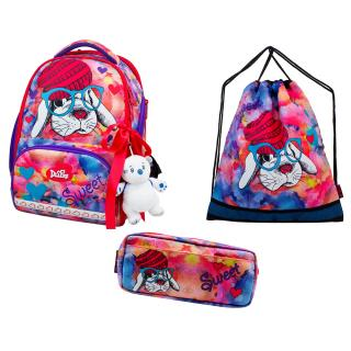 Школьный комплект DeLune - ранец, мешок, пенал, игрушка 10-002