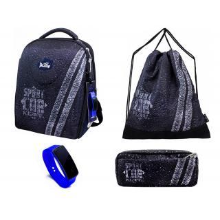 Школьный комплект DeLune - ранец, мешок, пенал, часы 7-152